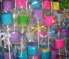Marshmallow Pops Sugar Coated Jumbo Marshmallow Pops La la loopsy John Deere Party Favors 1 dozen on Etsy, $18.00. Think I can make my own?