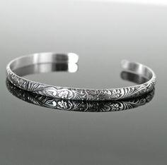 Sterling Silver Cuff Bracelet Delicate Oxidized by DorotaJewelry