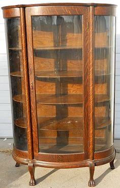 Antique Curio Cabinets | QUARTER SAWN OAK CURVED GLASS CHINA CABINET W/ CLAW FEET & COLLUMNS ...