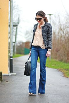 I like the wide leg jeans and the jacket. The blouse is a little to frilly and too pale a pink for me I think