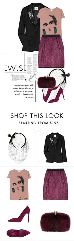 """""""new twist."""" by mercimasada ❤ liked on Polyvore featuring RED Valentino, Halston Heritage, Lanvin, Marc Jacobs, Gianvito Rossi, Alexander McQueen, skirt, Sequins, fur and celebrate"""