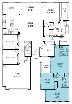 Lennar Homes – I want one of these! Multigenerational living + floor plan ideas to coexist with multiple families under one roof House Plans One Story, Family House Plans, Bedroom House Plans, New House Plans, Dream House Plans, Small House Plans, House Floor Plans, The Plan, How To Plan