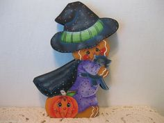 """HP Gingerbread  Halloween"""" Witch with black cat""""  Shelf Sitter hand painted USA  (ebay countreecorner US only)"""