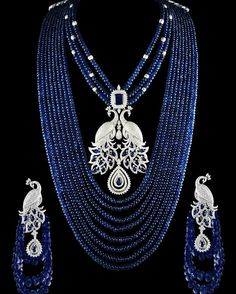 @thejewellcloset -  Stunning Sapphire & Diamond Necklace with Matching  Earrings by Narayan Jewels.