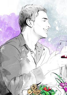 Romantic Dinner by Anna Ulyashina - illustrator, via Behance