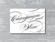 INSTANT DOWNLOAD  Champagne and Wine Printable by CreativePapier, $5.00