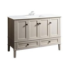 $998 / Simpli Home Chelsea 48 in. Vanity in Soft White with Quartz Marble Vanity Top in White and Undermounted Rectangular Sink-NL-HHV029-48-2A at ...