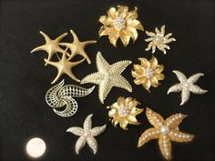 Starfish Brooch Bouquet Kit Nautical themed Gold Pearl Sea shell Star Pin clip on earring Monet Vintage rhinestone Bridal Wedding Brooches by SusieKays on Etsy