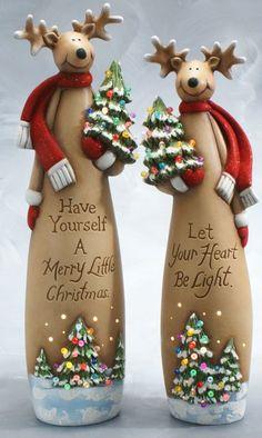 Clay Magic - Reindeer with Christmas tree Christmas Clay, Christmas Crafts, Christmas Ornaments, Christmas Tree, Glass Bottle Crafts, Bottle Art, Christmas Wine Bottles, Painted Wine Bottles, Xmas Decorations