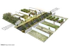 Murs à pêches - Montreuil on Behance Landscape Architecture Drawing, Green Architecture, Concept Architecture, Landscape Design, Architecture Diagrams, Axonometric View, Axonometric Drawing, Urban Agriculture, Urban Farming