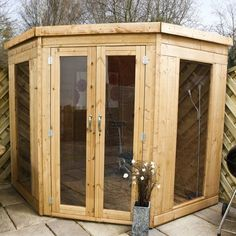 7 x 7 Waltons Wooden Corner Summer House on Walton Garden Buildings Corner Summer House, Summer Houses, Tongue And Groove Cladding, Corner Sheds, She Sheds, Garden Buildings, Garden Structures, Diy Shed, Garden Office