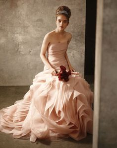 Strapless organza dress by Vera Wang from the White collection