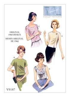 V9187 | Misses' Jewel or Scoop-Neck, Princess-Seam Tops Sewing Pattern | Vogue Patterns