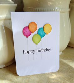 cute birthday card with balloons colors done using sponged inks—great effect