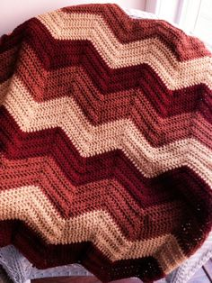 crochet knit BOLD chevron zig zag ripple baby toddler blanket afghan wrap adult lap wheelchair stripes VANNA WHITE yarn rust gold handmade by JDCrochetCreations on Etsy