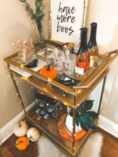 Easy Halloween bar cart decorating ideas! I leave mine up all October.