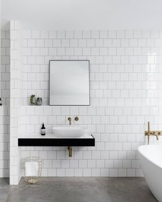 """1,174 Likes, 9 Comments - est (@est_living) on Instagram: """"INSPIRATION: For a classic bathroom that still has an edge we love the concrete and tiling…"""""""