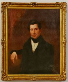 """Oil on canvas portrait of William Spencer Hungerford (1804-1873/74), unsigned, housed in a carved gilt wood frame. History: Subject was a lawyer and possibly a judge, born in Litchfield, Connecticut and died in Hartford, Connecticut. His nephew Uri T. Hungerford (b. 1841) started the Charlotte Hungerford Hospital in Torrington, Connecticut in 1916, named after his mother. Sight: 35-1/2"""" H x 28-1/2"""" W. Frame: 42"""" H x 35"""" W. Mid-19th century."""