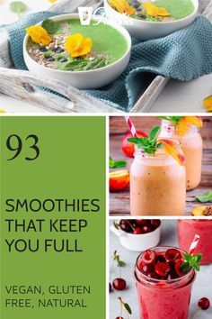 These smoothies will replace a meal and keep you full until your next meal. They are based on easy to find, healthy ingredients and will help you lose weight. Protein Fruit Smoothie, Raw Vegan Smoothie, Vegan Smoothie Recipes, Smoothie Diet Plans, Smoothie Prep, Vegan Recipes, Make Ahead Smoothies, Healthy Smoothies, Fruit Smoothies