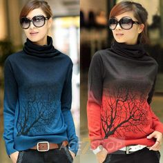 2013 Fashion Autumn Sweater Women New Women's Turtleneck Print Gradient Color Sweater Cashmere Sweater Pullovers 5 Size 6 Color-in Pullovers from Apparel & Accessories on Aliexpress.com
