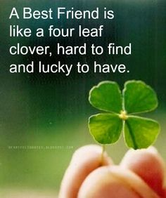 A best friend is like a four leaf clover, hard to find and lucky to have. #Friendship