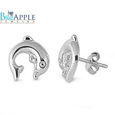 Tiny 10mm Solid 925 Sterling Silver Dolphin Cartilage Piercing Earrings Dolphin Stud Post Earring Ocean Dolphin Jewelry Cute Gift!