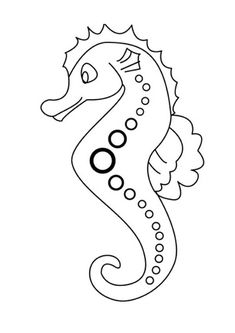 Seahorse with Dotted Line Art Patern Coloring Page