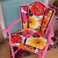 Chair Vintage Upcycled in Pink and Delilah Floral by GloryBDesign, $369.95