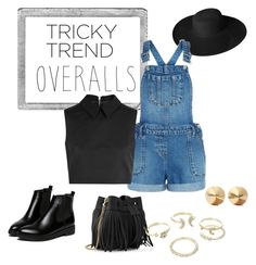 """Tricky Trend: Overalls"" by georgiarkanderson on Polyvore featuring Polaroid, Dorfman Pacific, New Look, McQ by Alexander McQueen, WithChic, Whistles, Lipsy, Eddie Borgo, TrickyTrend and overalls"