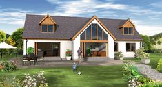 Award Winning Housebuilder Ptarmigan Homes - Custom Kit Homes Design and Planning Services in the North of Scotland Porch House Plans, Bungalow House Plans, Modern Bungalow, New House Plans, Bungalow Bedroom, Bungalow Exterior, Bungalow Renovation, Cottage Exterior, Dormer Bungalow