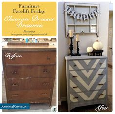 Totally loving the chevron pattern on the drawers! What a cute way to repaint a dresser! Furniture Facelift Friday: Chevron Dresser - Jonesing2Create