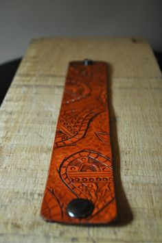 Paisley Tooled Leather Carved Cuff - Handmade. $30.00, via Etsy.