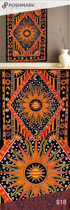 """Celestial Sun Moon Tapestry 85""""x56"""". Can be used as a wall hanging, bed spread, room divider, picnic blanket. Was hanging on a wall, but no holes in it because used command strips. Not urban outfitters. Urban Outfitters Accessories"""