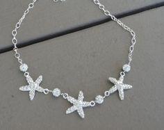Rhinestone Statement Necklace, Beach Wedding Necklace, Starfish Necklace, Bridesmaid Necklace, Beach Bridal Necklace