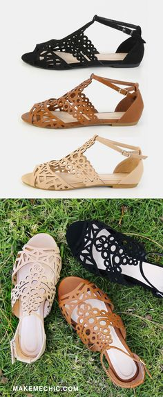 Go for the summer boho look with the Geometric Cut Out Ankle Strap Sandals! Features an open toe, geometric cut out pattern, and PU upper. Finished with an adjustable ankle strap and slightly padded insole. Finish the look with a lace dress for a feminine vibe!