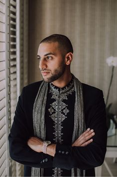 Luxurious Muslim & Indian Wedding at Cavalli Estate. The groom getting ready at the Twelve Apostles. Groom Getting Ready, Groom Outfit, Beautiful Moments, Muslim, Wedding Venues, Bomber Jacket, Men Sweater, Glamour, Goals