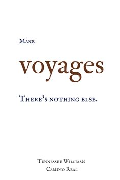 Make voyages. There's nothing else. Tennessee Williams, Camino Real.