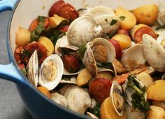 """Littleneck Clams with Linguica    Ingredients:  2 shallots, minced  1 lb linguica sausage, sliced  1 lb 8 oz small golden potatoes, halved  1 bunch Hakurei (I've seen them labeled """"baby"""") turnips with greens attached, turnips halved* and greens chopped  2 tablespoons sherry vinegar  1 1/4 cup stock  2 bay leaves  1 tablespoon yellow mustard seeds  sea salt  freshly ground black pepper  50 littleneck clams          olive oil    Directions:  Heat olive oil in a heavy dutch oven. Saute the…"""