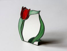 Standing Mirror with Stained Glass Frame Tulip by StainedGlassPL
