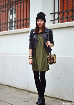 robe manche longue -vert