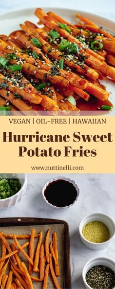 These Hawaiian-style Hurricane Sweet Potato Fries really bring the island flavor to the table! They are vegan, easy-to-make, oil-free, simple, and delicious! Hawaiian Appetizers, Hawaiian Snacks, Hawaiian Recipes, Hawaiian Parties, Hawaiian Bbq, Easy Vegan Lunch, Vegan Lunch Recipes, Meatless Recipes, Picnic Recipes