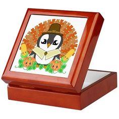 Thanksgiveguin Keepsake Box #Thanksgiving #Fall #Autumn #Penguin #MrPenguin #Kawaii #Cute #Adorable #Goldfishdreams #Cafepress