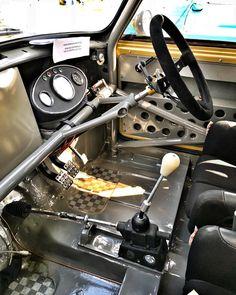 Instagram post by @russelli7 • May 13, 2018 at 6:47pm UTC Mini Cooper S, Classic Mini, Classic Cars, Interior Design Classes, Austin Healey Sprite, Roll Cage, Unique Cars, Go Kart, Dream Cars