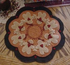 Gingerbread Family Penny Rug Candle Mat Pattern $4.50