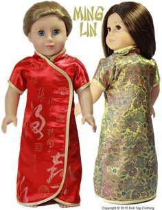 The Doll Tag Clothing Ming Lin 18 inch Doll clothes pattern. Learn how to make a simple Chinese wrap Cheongsam for your 18 inch doll.