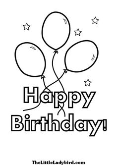 happy birthday coloring page with balloons and stars coloring