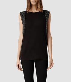 Womens Giri Vest (Black) | ALLSAINTS.com