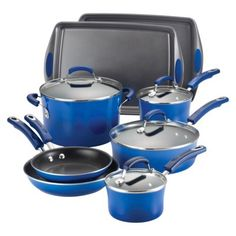 Rachael Ray Porcelain II Nonstick 12-Piece Set, Blue Gradient~ because my pans are shit and his are worse