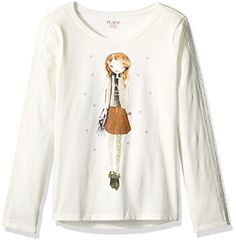The Childrens Place Little Girls Long Sleeve Glitter Graphic Top Snow XSmall4 >>> Read more  at the image link.Note:It is affiliate link to Amazon.