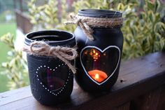 Chalkboard Mason Jar Candle Holders / Hearts and Twine on Etsy, $20.00